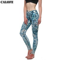 CALOFE 2017 Mermaid Printed Running Pants Leggings Women Skinny Joggers Yoga Pants High Waist Gym sport leggings Trousers Z30