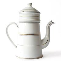 Beautiful French Enamel White Coffee Pot