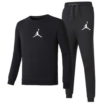 NIKE AIR JORDAN autumn and winter models new casual fashion fitness sportswear two-piece black