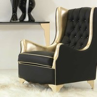 Tufted upholstered leather armchair with armrests NINA Lumiere Collection by Formenti