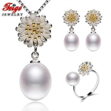Flower 925 Sterling Silver Pearl Jewelry Sets for Women Anniversary Jewelry Gift White Natural Freshwater Pearls Jewellery FEIGE