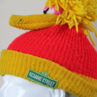 Vintage Sesame Street Big Bird Beanie RARE Yellow Red Unisex Winter Kawaii Muppet Character