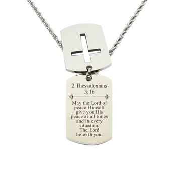 Mens Scripture Double Tag Necklace - 2 Thessalonians 3:16