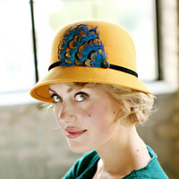 Mustard Womens Cloche Hat With Peacock by bethanylorelle on Etsy