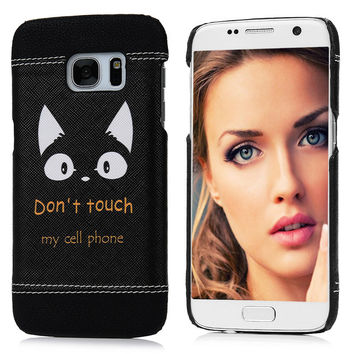 "Fashion Hard PC Case + PU Leather Cover For Samsung Galaxy S7 G9300 G930A 5.1"" Owl Feather Cat Girl Red Lip Pattern Phone Skin"