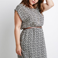 Belted Daisy Print Dress
