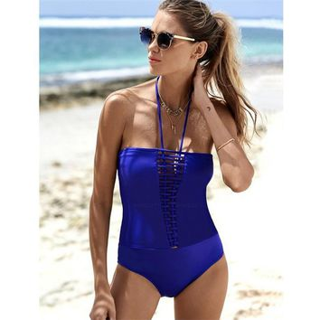 Sexy Halter Strapless Swimwear Women Solid Black Blue One Piece Swimsuit Bodysuit Padded Trikini Swimming Suit for Women