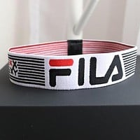 FILA Newest Popular Women Men Stripe Letter Sport Yoga Stretch Headband Hair Band