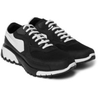 Neil Barrett - Two-Tone Leather, Nubuck and Mesh Sneakers | MR PORTER