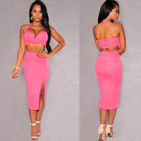 Hot Pink Sweatheart Neckline Crop Top Bodycon Skirt Matching Sets