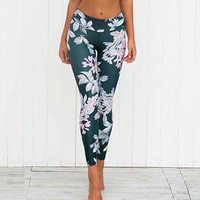 Pink and Green Floral Printed Women's Fitness Leggings
