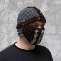 Crochet knight helmet in dark grey brown crusader hat medieval hat warrior hat