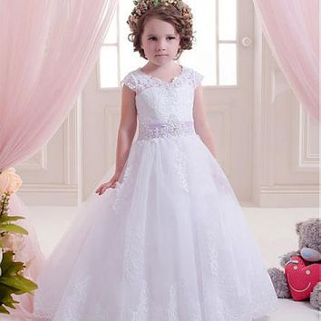 [54.99] Marvelous Tulle & Satin Jewel Neckline Ball Gown Flower Girl Dresses With Beaded Lace Appliques - dressilyme.com