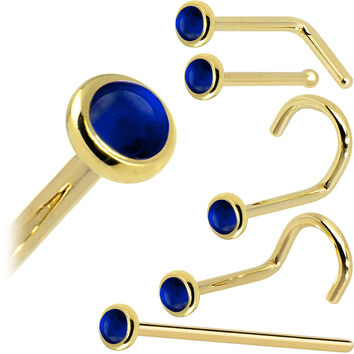 Solid 14KT Yellow Gold (September) 2mm Genuine Sapphire Nose Ring