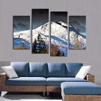 4 PCS Canvas Wall Paintings Snow Mountain Decorative Oil Painting Canvas Prints for BedRoom Without Frame