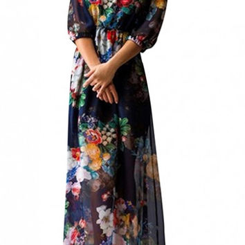 Dark Blue Off-the-Shoulder Half Sleeve Fresh Flower Maxi Chiffon Dress