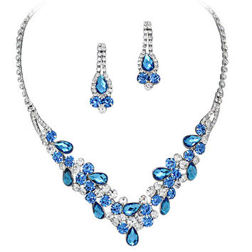 Elegant Multi Blue V-Shaped Garland Evening Prom Bridesmaid Necklace Set Silver Tone