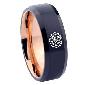 8mm Fire Department Bevel Tungsten Carbide Rose Gold Mens Band Ring