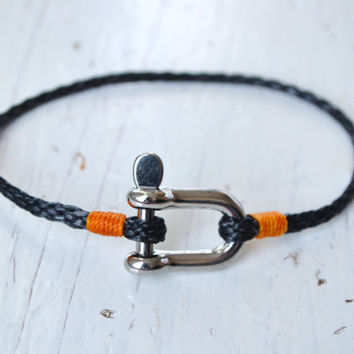 Spring 2013 Nautical Bracelet Rope Bracelet MINIMAL SHACKLE Bracelet Sailing Surfer Kayaker Kite Boarder Unisex Free Shipping