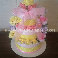 Pink and Yellow Elegant Its a Girl Themed Baby Shower 3 Tier Bouquet Diaper Cake Table Centerpiece Mothers Day New Mom to Be Baby Girl Gift