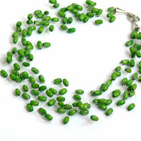 Green Necklace. Bridesmaid Necklace. Beadwork. Wedding Necklace. Multistrand Necklace.