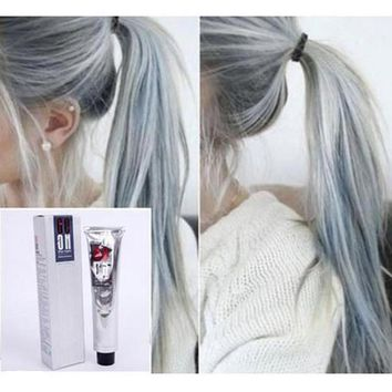 Light Gray Color Permanent Super Dye Hair Cream Hair Color Non-toxic DIY Hair Style Grey Coloring