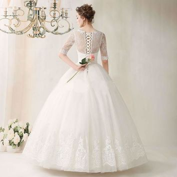 Long Wedding Dress Actual Images Lace Half Sleeves Ball Gown Appliques Tulle Wedding Gowns