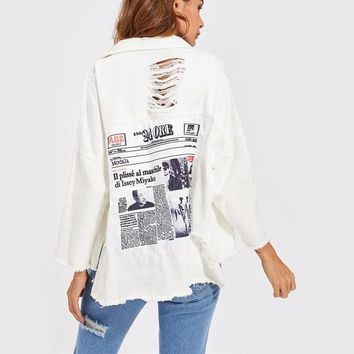 Drop Shoulder Patch Back Distressed Jacket Autumn Jeans Jacket Women Lapel Long Sleeve Single Breasted Jacket