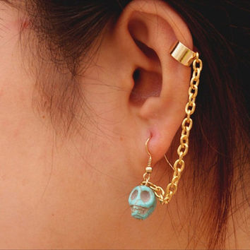Skull Ear CuffTurquoise Skull Bead Ear Cuff by sanny1983 on Etsy
