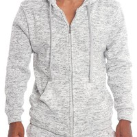 Basic Melange Zip Up Hoodie