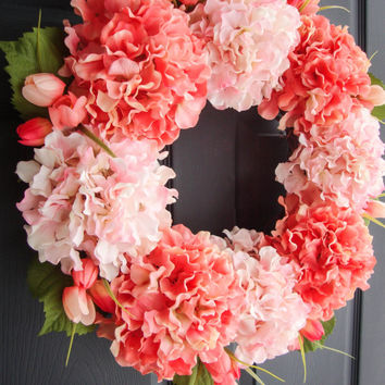 Spring Hydrangea WREATH with Tulips - Spring Wreaths - Front Door Decorations - Door Wreath - Wreaths - Housewarming Gift
