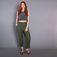 60s US ARMY PANTS / 1960s Army Green Cotton Boyfriend Fit Pants xs s