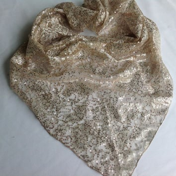 Rose Gold lace scarf, Sequins Shawl, Pretty CREAM Sparkly Lace Scarf, Summer Wedding cover up Shawl, Gold Lace Shawl, Large Lace Shawl