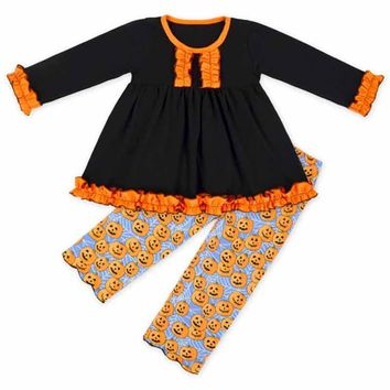Halloween Baby Girls Clothes Black Orange Ruffle Girls Outfit Cute Pumpkin Printed Kids Clothes Long Sleeve Autumn Baby Clothing