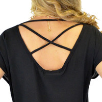 Back To Basics Black Criss Cross Top