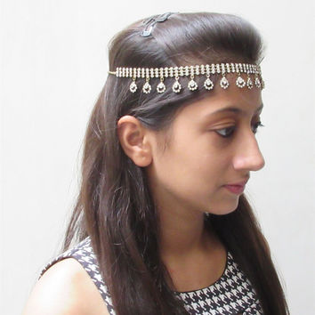 Silver Head chain/Boho Head Chain/Wedding Bridal Head Chain/Gold Hair Piece/Gypsy Head Chain/Matha Jewelry/Bridal Head Dress/Diamante Band