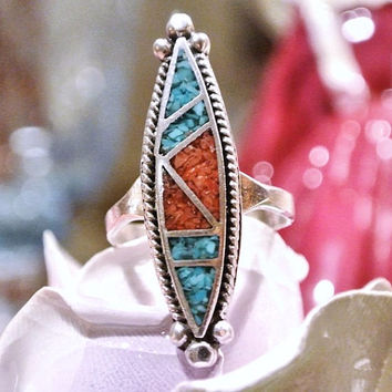 Vintage Zuni Ring Turquoise Coral Sterling Blue Turquoise Red Coral Crushed Mosaic Inlay Zuni Ring Native American Southwestern Circa 1950s
