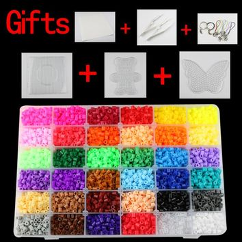 5mm hama beads 36 colors 12,000pcs box set(1 big template+5iron papers+2tweezers) fuse/perler beads diy educational toys craft
