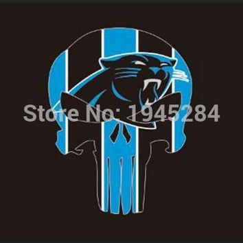 NFL Carolina Panthers Skull Flag Banner New 3x5ft 90x150cm Polyester 9844, free shipping
