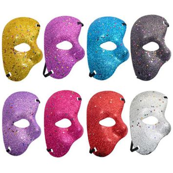 Popular Halloween Party Costume Party Costume Party Plastic Mask Opera Phantom Dance Party Gold Powder Half Face Set