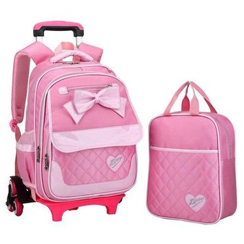 School Backpack Lovely children cartoon cute Bow tie school bags for girls Fashion travel trolley bag backpacks wheeled bag  AT_48_3