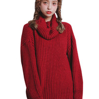 Ribbed Knit Turtleneck Long Sleeve Pullover Sweater