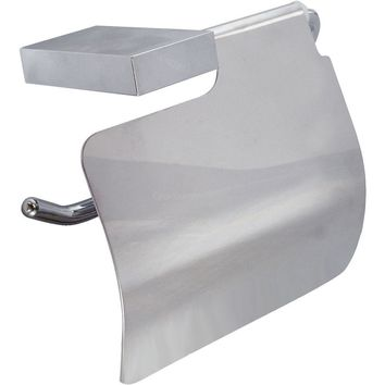 DI Wire Wall Toilet Paper Holder W/ Lid Cover Tissue Dispenser - Brass Chrome