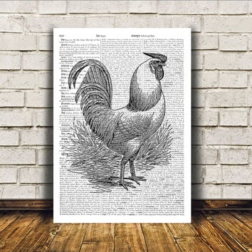 Dictionary print Rooster poster Bird art Modern decor RTA56