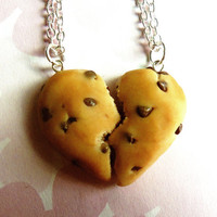chocolate chip cookie best friend necklaces half broken heart friendship necklace polymer clay