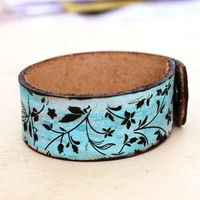 Turquoise and brown bracelet Art Nouveau leather bracelet