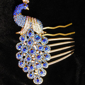 Blue Austrian Crystal Peacock Hair Comb or Hair Fork