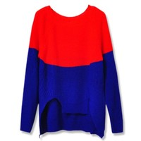 Irregular Hem Constract Color Sweater