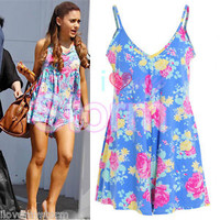 LADIES CELEB ARIANA GRANDE BLUE FLORAL ROSE PLAYSUIT MINI PLAYSUIT UK 8 - 14