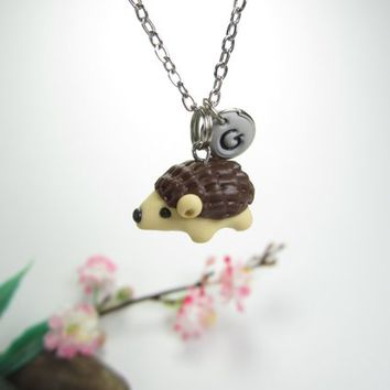Hedgehog necklace, hedgehog jewelry, Initial necklace, personalized necklace, cute unique gift, animal necklace, hedgehog gift, polymer clay